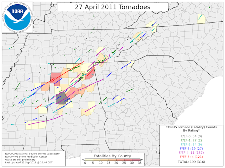 Tornado tracks from the 27 April 2011 Super Outbreak