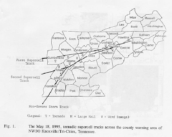 The May 18, 1995 tornadic supercell tracks across the county warning area of NWSO Knoxville/Tri-Cities, TN.
