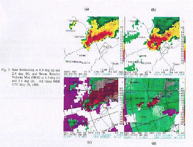 Base reflectivity and storm relative velocity map images on May 19, 1995 at 0008 UTC.