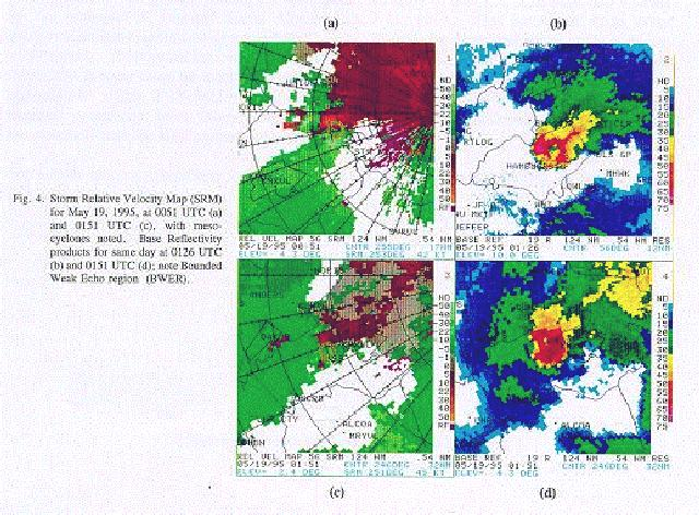 Base reflectivity and storm relative velocity map images on May 19, 1995 at 0051 and 0151 UTC.