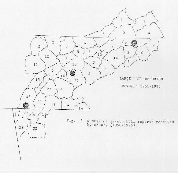 Number of severe hail reports received by county between 1950 and 1995 across the NWSO Knoxville/Tri-Cities County Warning Area.