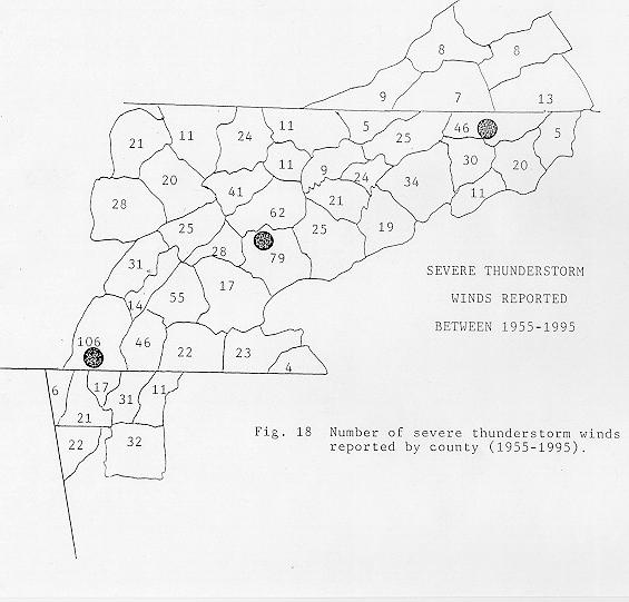 Number of severe thunderstorm winds reported by county between 1955 and 1995 across the NWSO Knoxville/Tri-Cities County Warning Area.
