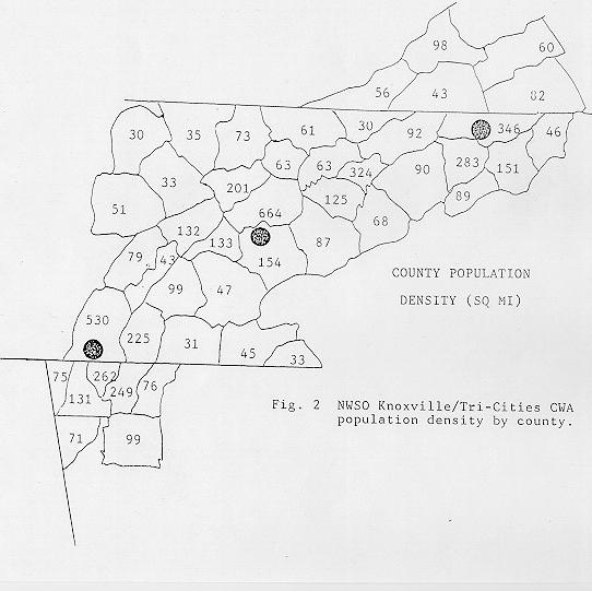 NWSO Knoxville/Tri-Cities County Warning Area population density by county.