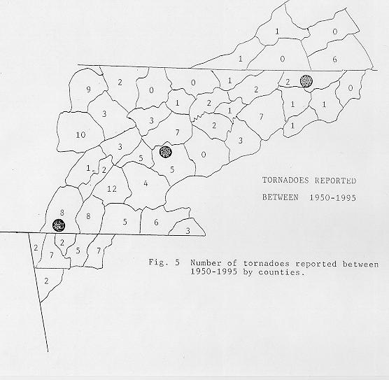 Number of tornadoes by county reported between 1950 and 1995 across the NWSO Knoxville/Tri-Cities County Warning Area.