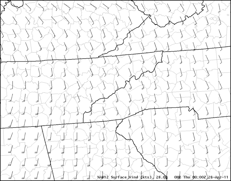 Surface winds from the NAM12 model at 0000 UTC on 28 April 2011