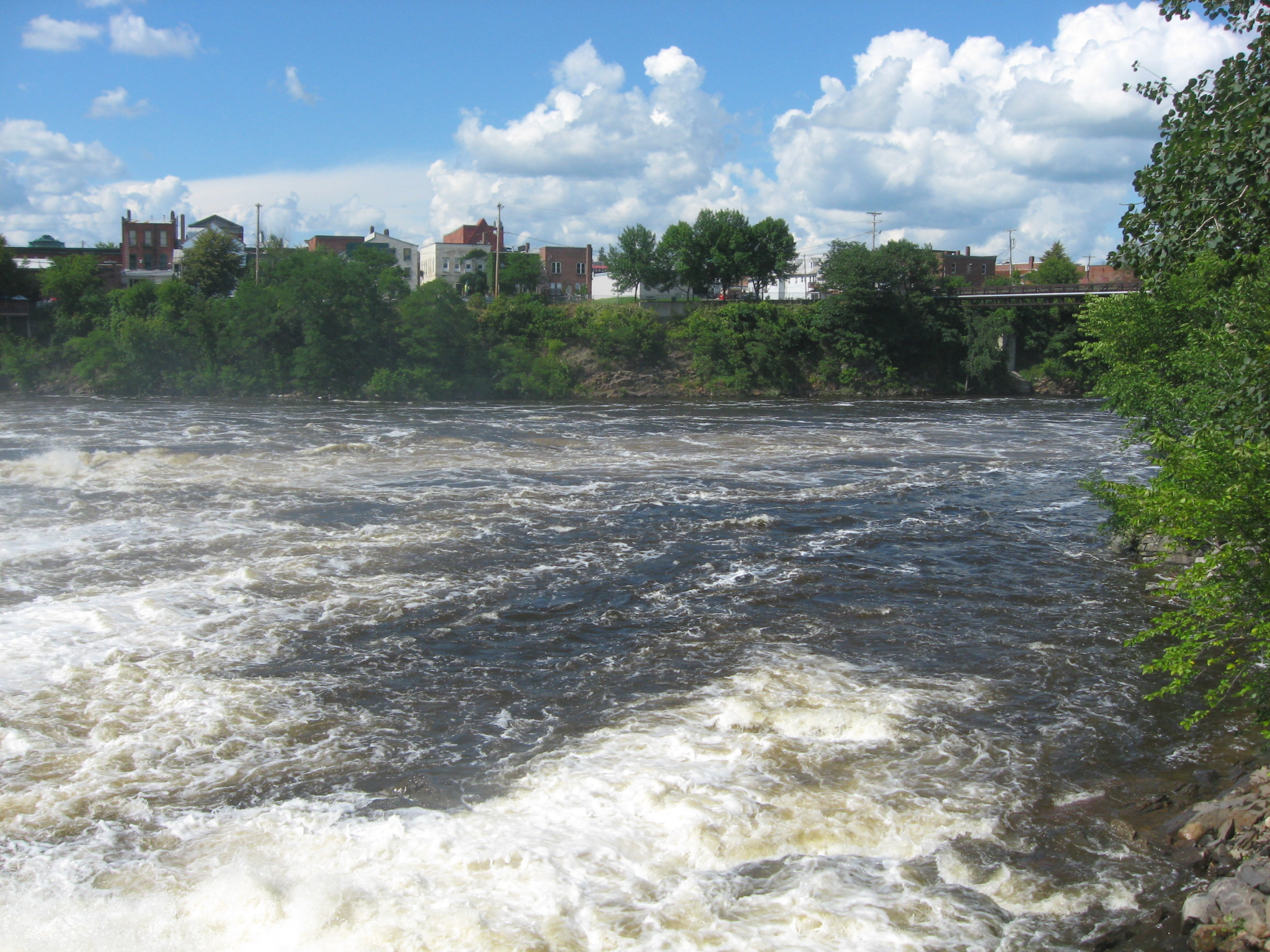 Photograph of the Kennebec River at Skowhegan, ME (SKOM1) looking downstream
