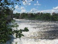 Photograph of the two branches of the Kennebec River remerging just downstream of the Skowhegan Dam