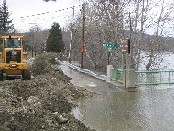 Photograph of flooding of the Fish River on Main Street in Fort Kent, ME on April 30, 2008