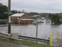 Photograph of flooding of the Fish River in Soldier Pond, ME on April 30, 2008