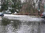 Photograph of the Sudbury River flooding downtown Wayland, MA