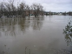 Photograph of flooding of the Fish River behind the University of Maine at Fort Kent on April 30, 2008