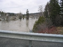 Photograph of flooding of the Fish River near Route 11 in Fort Kent, ME on April 30, 2008