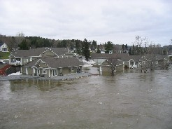 Photograph of homes flooded near Route 11 in Fort Kent, ME on April 30, 2008