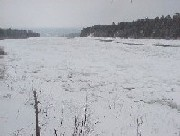 Photograph of snow and river ice along the St. John River downstream of Dickey, ME in December 2003