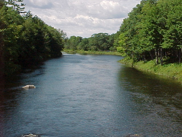 Photograph of the Piscataquis River at Dover-Foxcroft, ME (DOVM1) looking upstream
