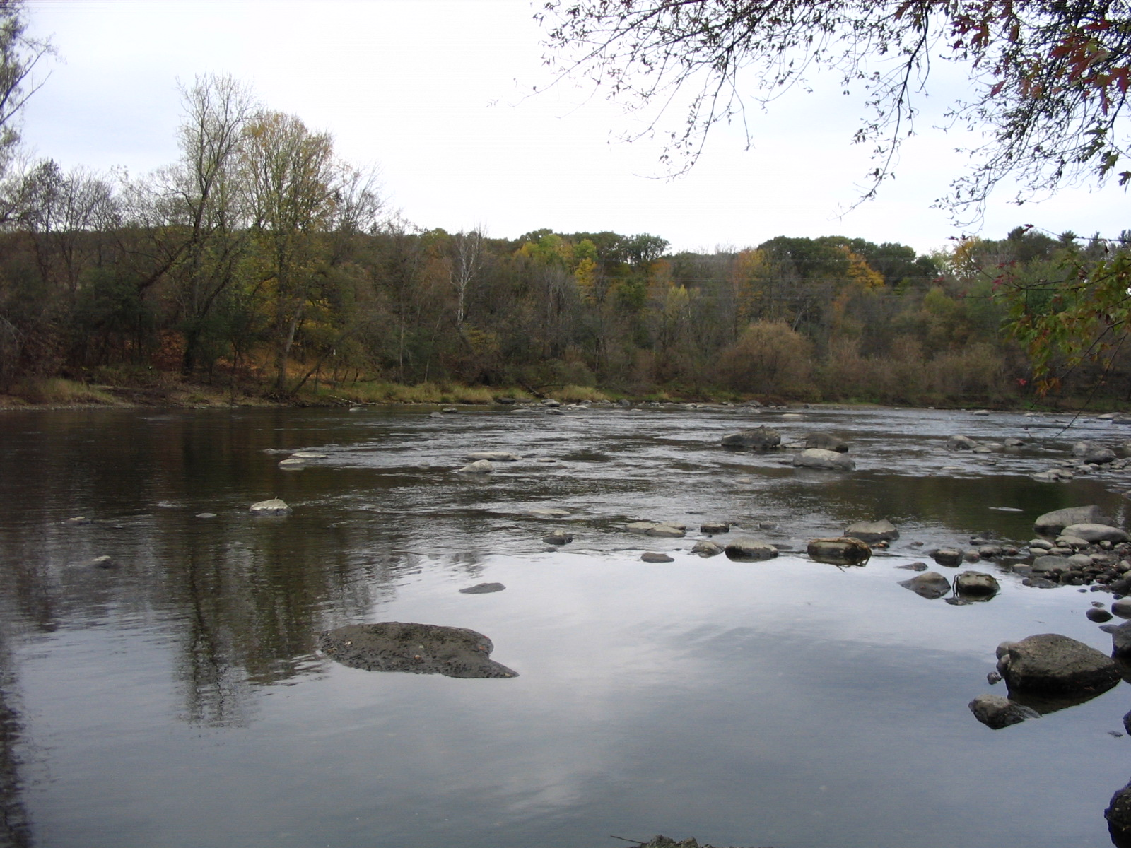 Photograph of the Winooski River at Essex Junction, VT (ESSV1) looking downstream