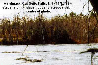 Photograph of the Merrimack River at Goffs Falls, NH (GOFN3) and its gage house