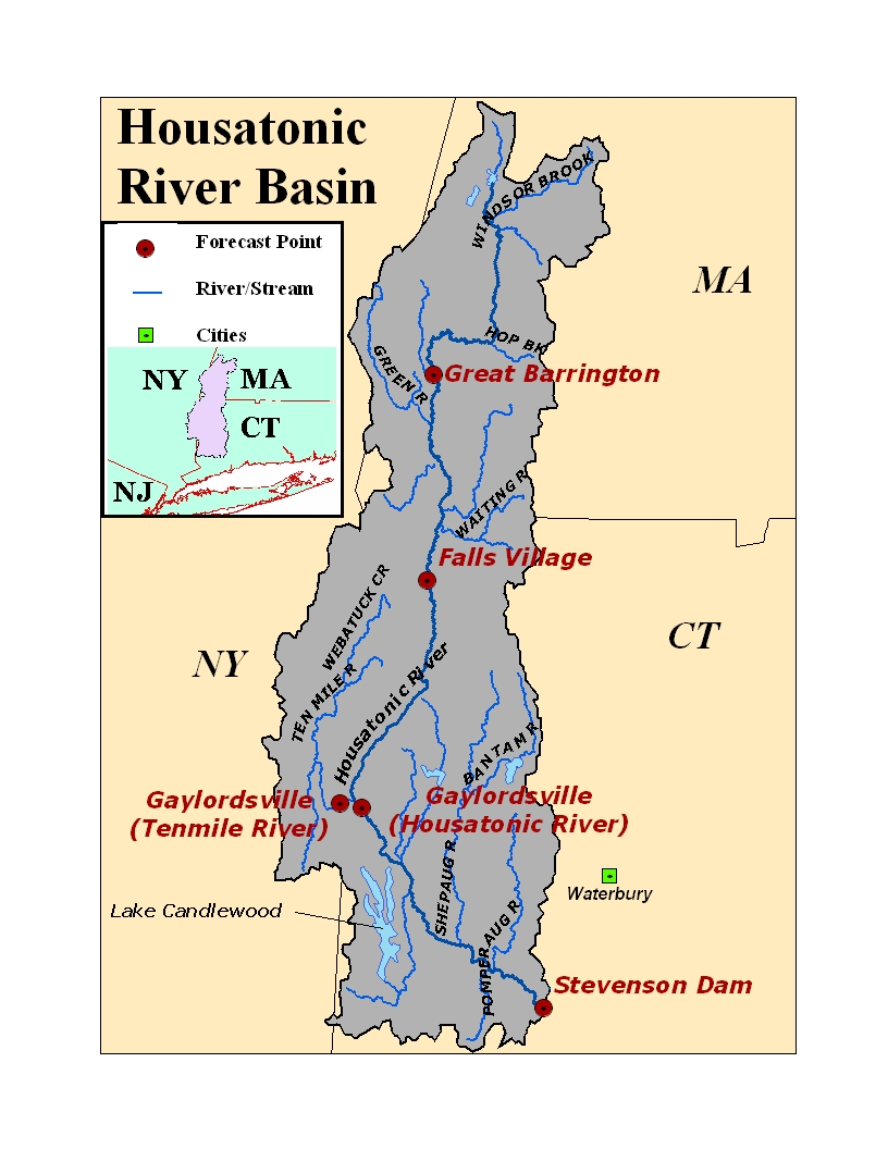 Map of the Housatonic River Basin. Click on the image to go to the interactive AHPS page.