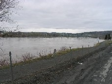 Photograph of International Bridge and dike