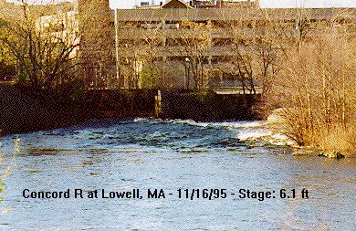 Photograph of the Concord River at Lowell, MA (LCNM3) looking upstream