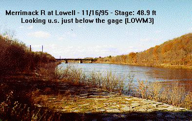 Photograph of the Merrimack River at Lowell, MA (LOWM3) looking upstream