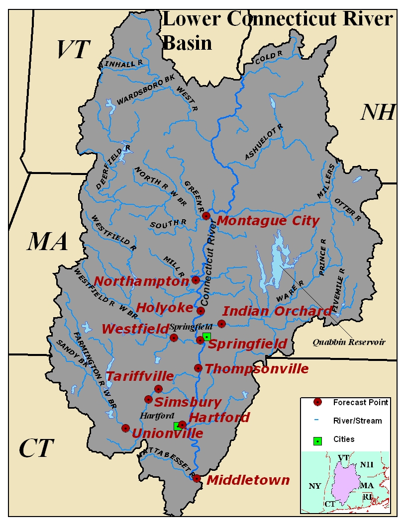 Map of the Upper Connecticut River Basin. Click on the image to go to the interactive AHPS page.