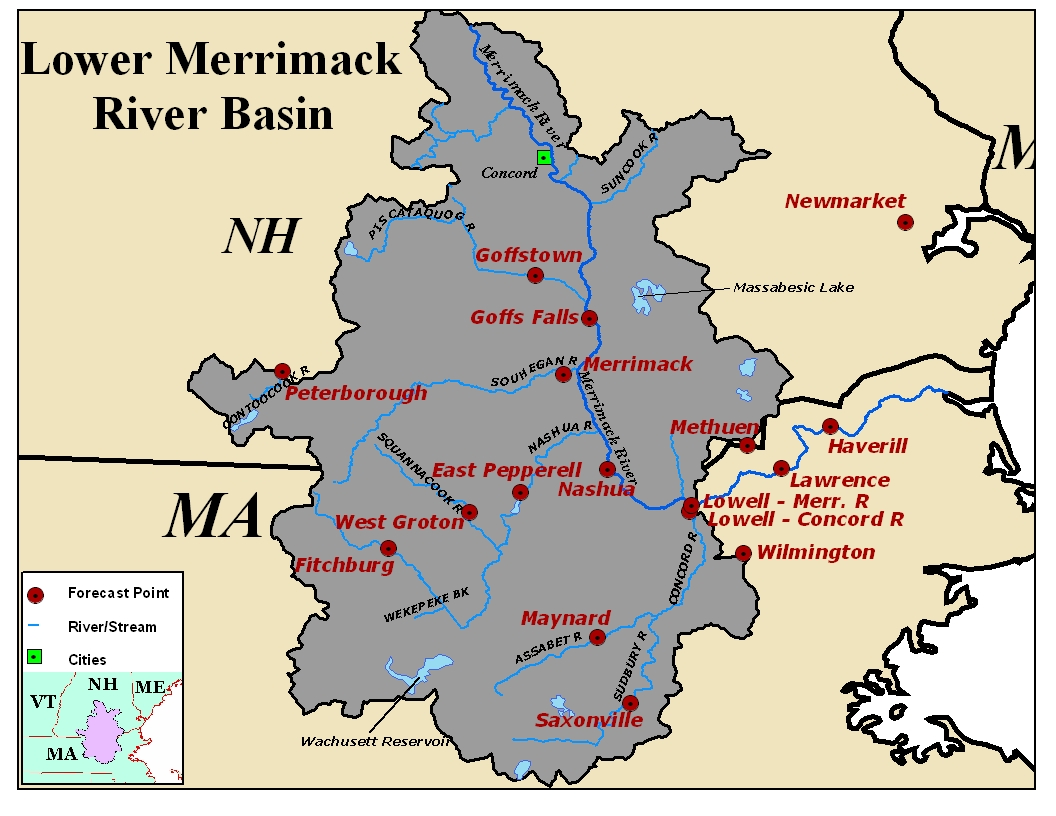 Map of the Lower Merrimack River Basin. Click on the image to go to the interactive AHPS page.