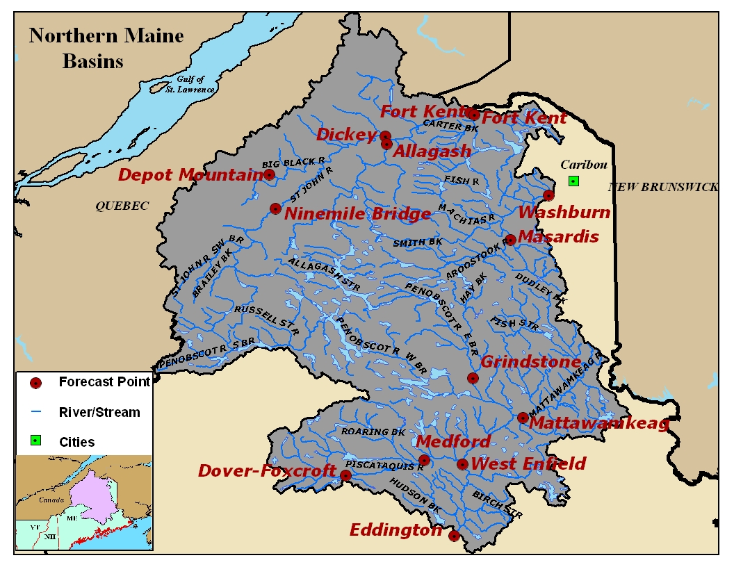 Map of the Northern Maine River Basins. Click on the image to go to the interactive AHPS page.