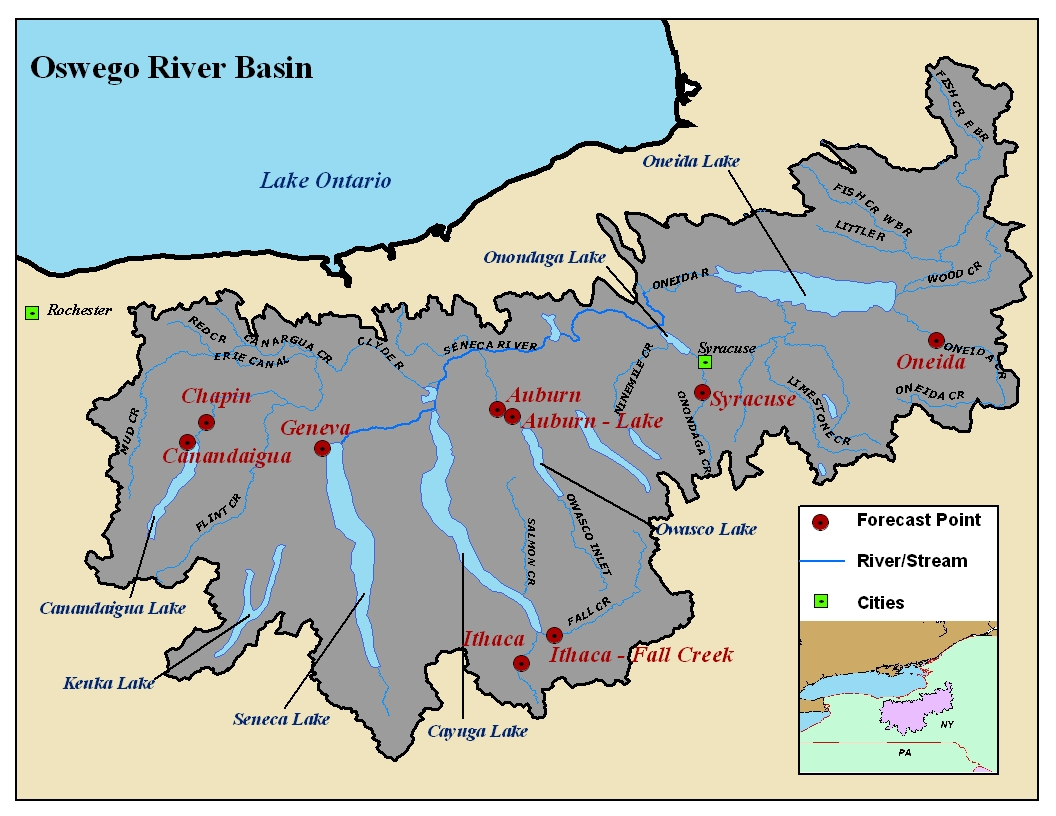 Map of the Oswego River Basin in New York. Click on the image to go to the interactive AHPS page.