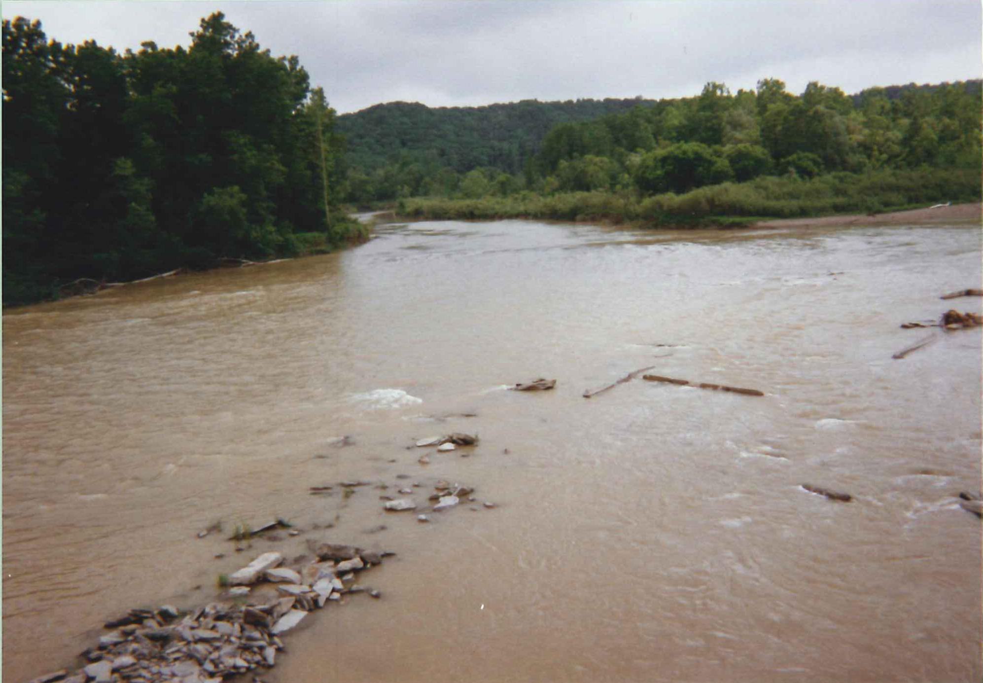 Photograph of the Genesee River at Portageville, NY (PRTN6) looking downstream