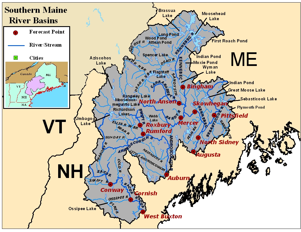 Map of the Southern Maine River Basins. Click on the image to go to the interactive AHPS page.