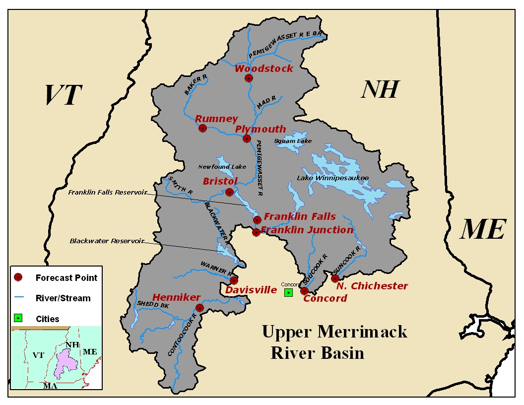 Map of the Upper Merrimack River Basin. Click on the image to go to the interactive AHPS page.