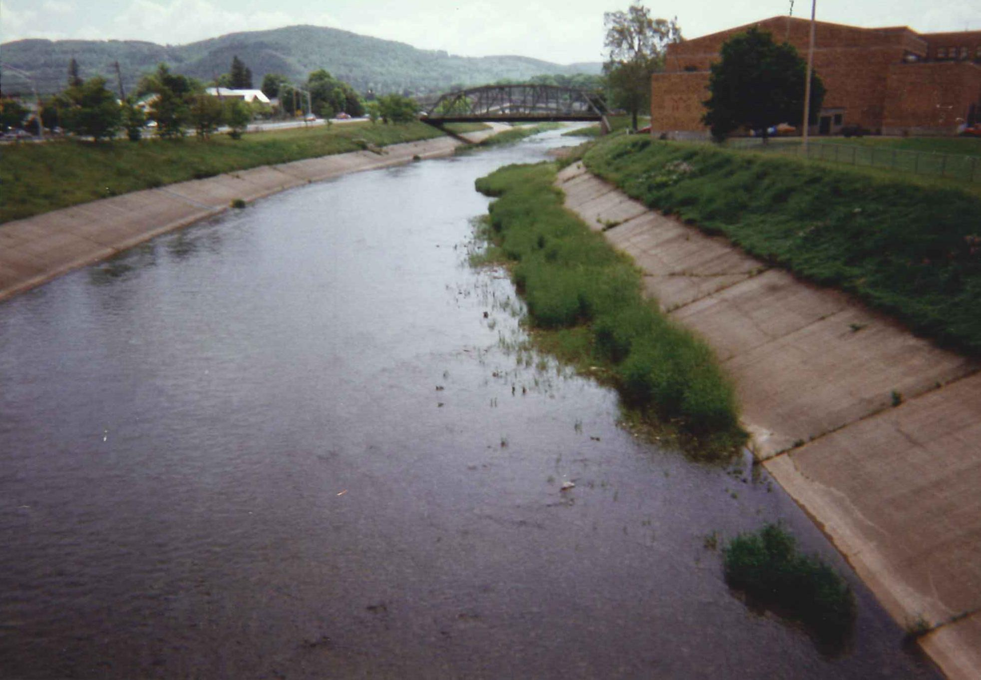 Photograph of the Genesee River at Wellsville, NY (WLLN6) looking upstream