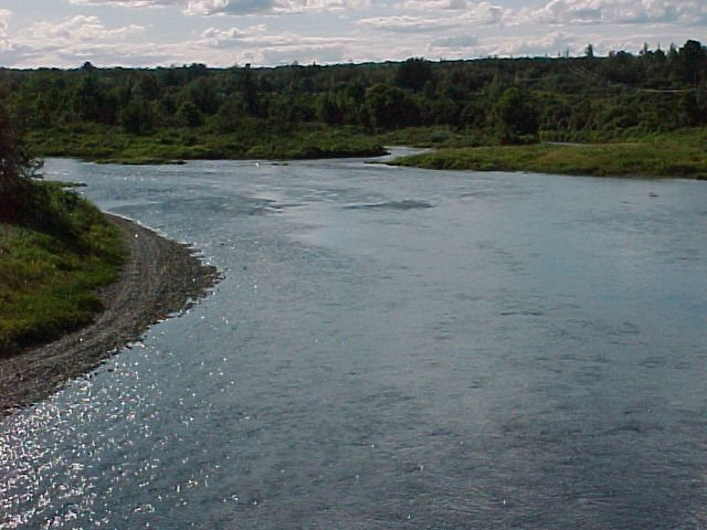 Photograph of the Aroostook River at Washburn, ME (WSHM1) looking upstream