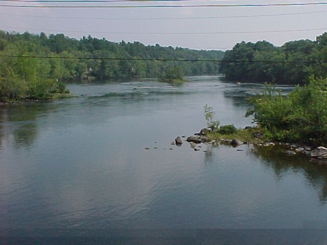 Photograph of the Saco River at West Buxton, ME (WBXM1) looking downstream