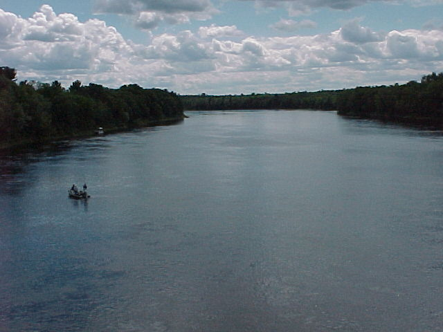 Photograph of the Penobscot River at West Enfield, ME (WENM1) looking downstream