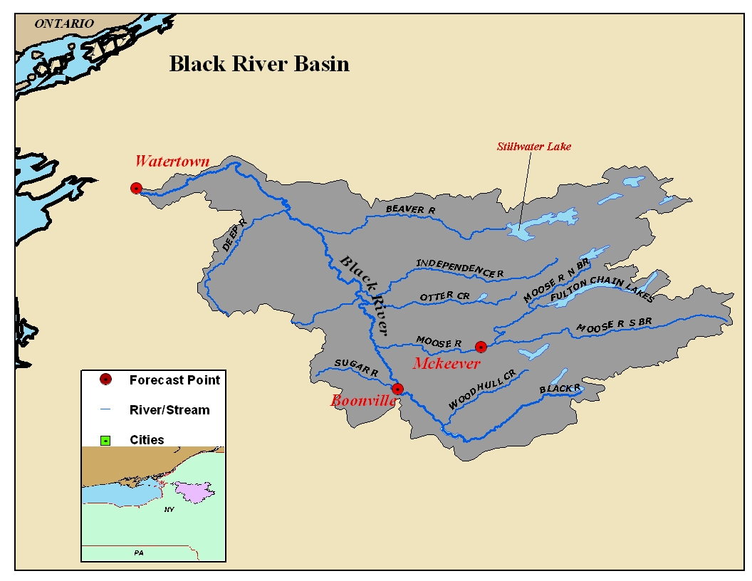 Map of the Black River Basin in New York. Click on the image to go to the interactive AHPS page.