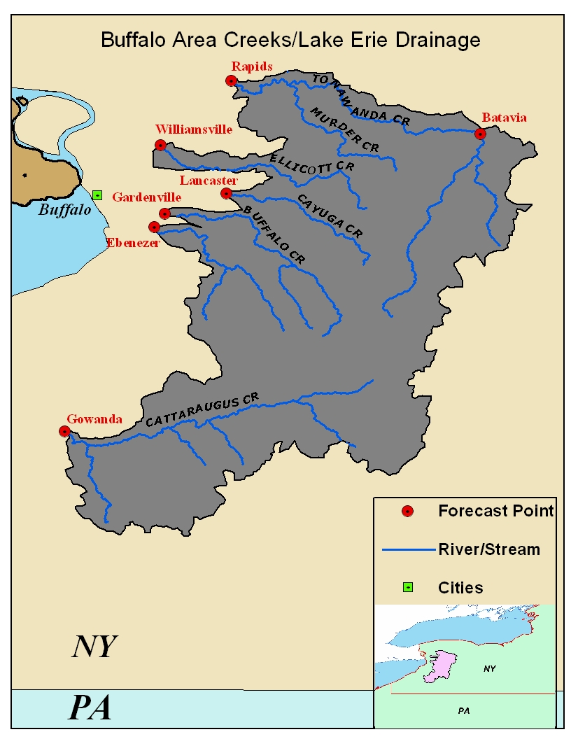 Map of the Buffalo Creeks in New York. Click on the image to go to the interactive AHPS page.