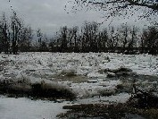 Photograph of the Great Chazy River at Perry Mills, NY (CZRN6) ice jam looking downstream