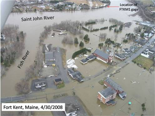 Photograph of flooding in Ft. Kent, ME at the confluence of the Fish River with the St. John River on April 30, 2008