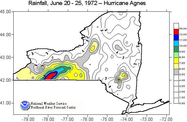 Image of total rainfall amounts across New York produced by Hurricane Agnes from June 20-25, 1972.