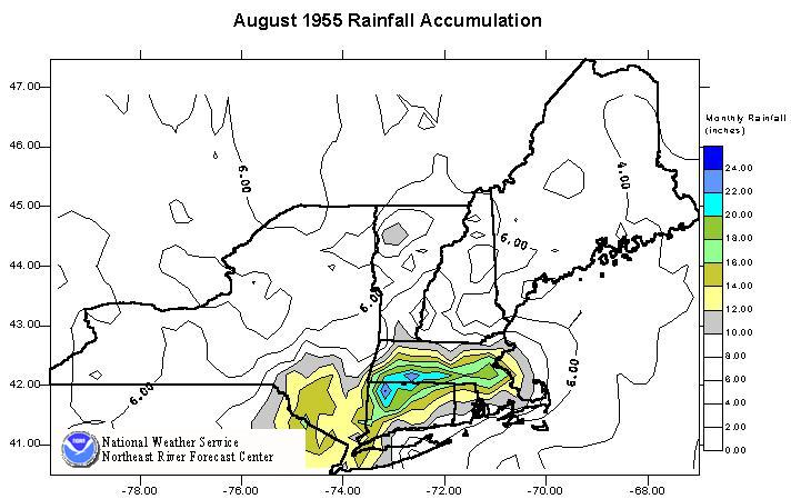 Image of rainfall totals across the Northeast U.S. for August 1955.
