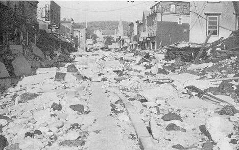 Image of Winsted, CT after the flood resulting from Hurricanes Connie and Diane of August 1955.