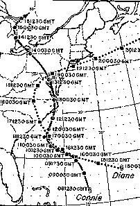 Image of the paths Hurricanes Connie and Diane took across the Eastern U.S. Coast in 1955.