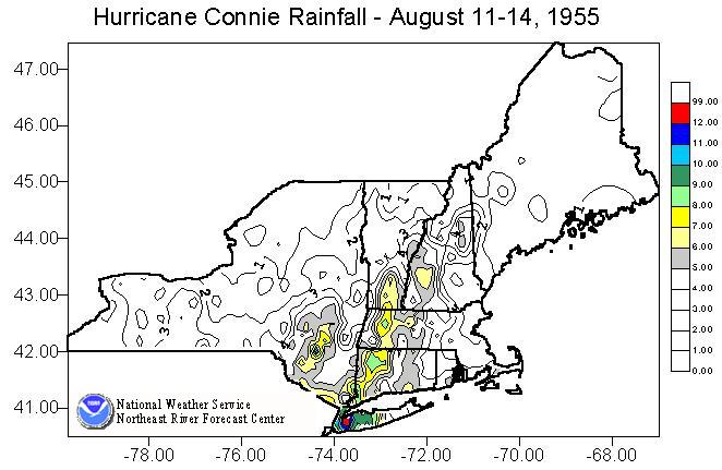 Image of the total rainfall produced across the Northeast U.S. by Hurricane Connie from August 11-14, 1955.
