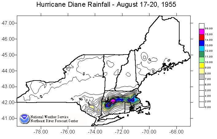 Image of the total rainfall produced across the Northeast U.S. by Hurricane Diane from August 17-20, 1955.