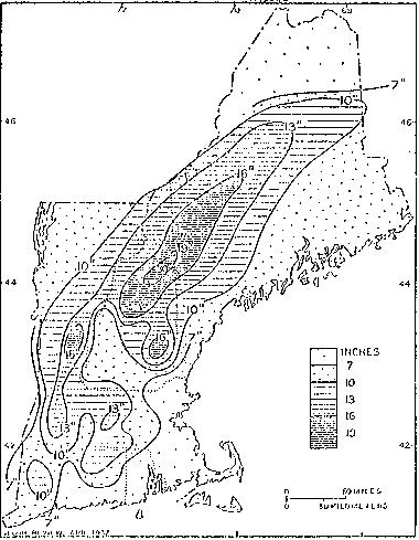 Image of combined snow melted water equivalent and rainfall totals across New England from March 9-21, 1936.