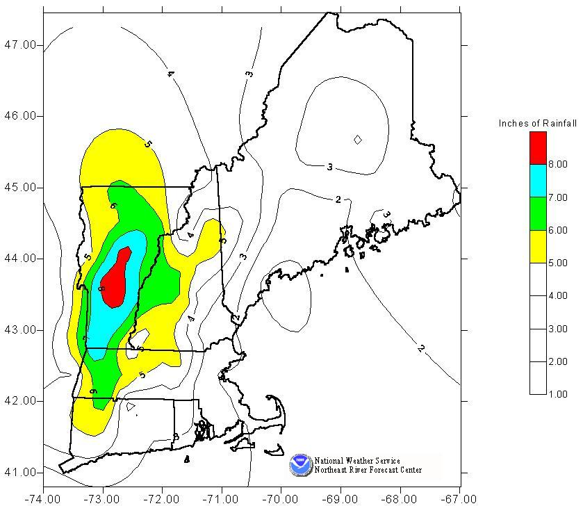 Contoured plot of the total rainfall during the November 1927 flooding event in New England.