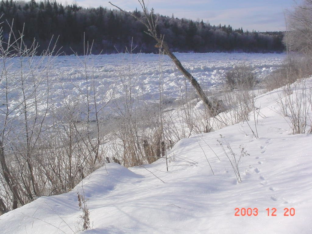 Photograph of an ice jam along the Allagash River at Allagash, ME (ALLM1) in December 2003