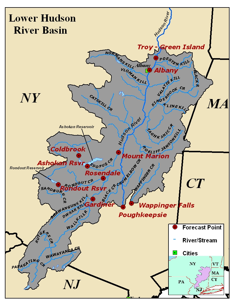 Map of the Lower Hudson River Basin in New York.  Click on the image to go to the interactive AHPS page.